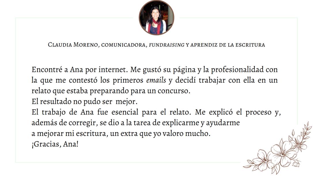 Testimonio Claudia Moreno