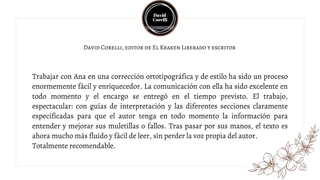 Testimonio David Corelli